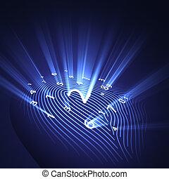 sécurité, empreinte doigt, numérique