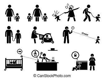 sécurité, equipment., moniteur, enfant