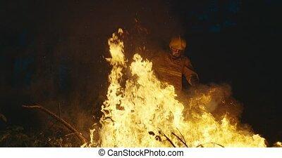 sécurité, forêt, éteindre, nuit, équipement, combattant, brûler, hache