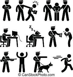 sécurité, police, voleur, garde, officier