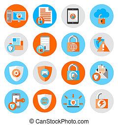 sécurité, protection, données, icônes
