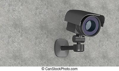 sécurité, render, wall., 3d, appareil photo