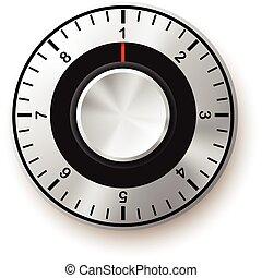 sécurité, sûr, concept., icon., cadran