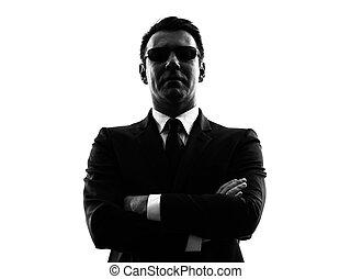 sécurité, silhouette, top secret, homme, garde corps, agent, service