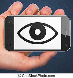 sécurité, smartphone, oeil, concept: