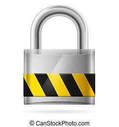 sécurité, tampon, verrouillé, serrure, concept