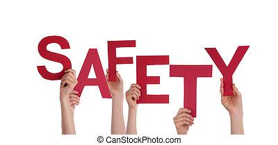 sécurité, tenant mains