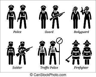 sécurité, travaux, public, women., métiers