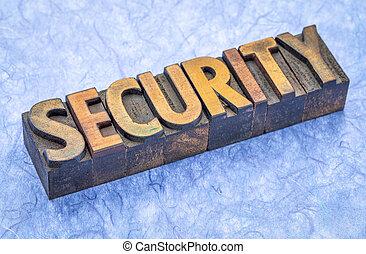 sécurité, type, bois, mot