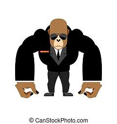 sécurité, vecteur, garde, noir, gorille, grand, garde corps, animal., suit., illustration
