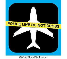 sécurité, vecteur, ligne aérienne