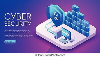 sécurité, vecteur, technologie, cyber, illustration
