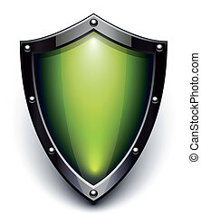 sécurité, vert, bouclier