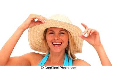 séduisant, blond, chapeau, femme