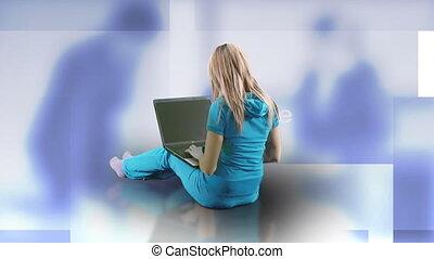 séduisant, elle, ordinateur portable, maison, utilisation, femme