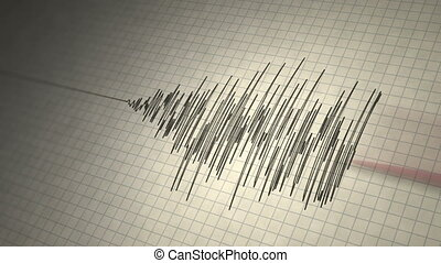 séisme, boucle, sismographe
