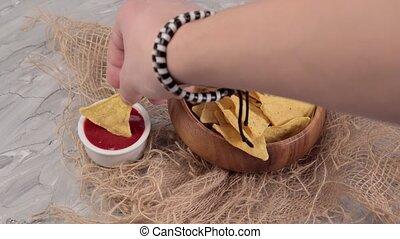 sélectif, sauce., mexicain, foyer, nourriture, nachos, ketchup, concept., tomate