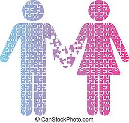séparation, amour, gens, couple, puzzle