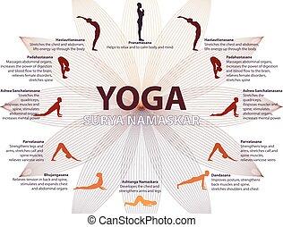 séquence, namaskar, yoga, surya, infographics