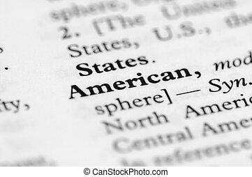 série, américain, -, dictionnaire