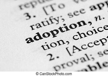 série, -, dictionnaire, adoption