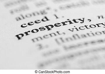 série, -, dictionnaire, prospérité