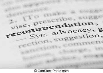 série, -, dictionnaire, recommandation