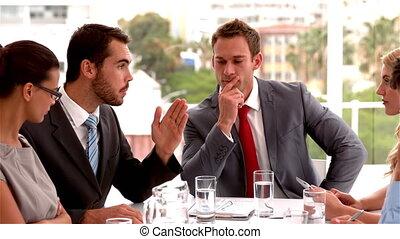 sérieux, avoir, réunion, équipe