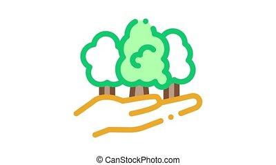 sûr, forêt, animation, icône