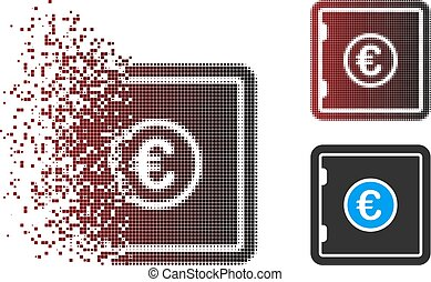 sûr, halftone, dispersed, icône, pixel, euro