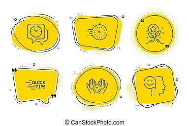 sûr, humeur, icônes, set., minuteur, horloge, loyauté, bon, vecteur, temps, education, signs., points
