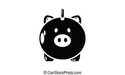 sûr, icône, animation, argent