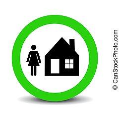 sûr, maison, vecteur, illustration, séjour