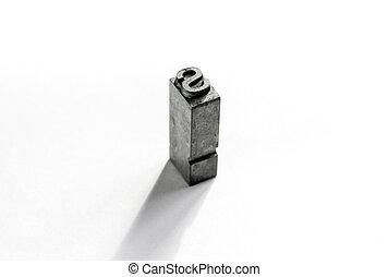 s, type, letterpress, fond, blanc, isolé, métal