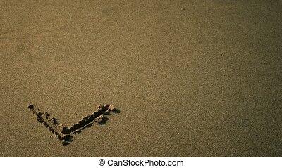 sable, amour, dessiné, mot