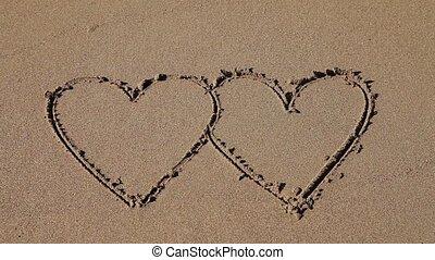 sable, dessiné, cœurs, double