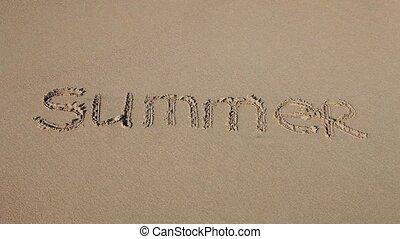 """sable, dessiné, """"summer"""", mot"""