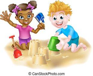 sable, enfants jouer