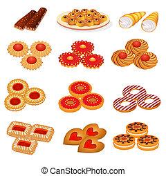 sable, gâteau, biscuits, ensemble, savoureux