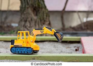 sable, jouet, excavateur