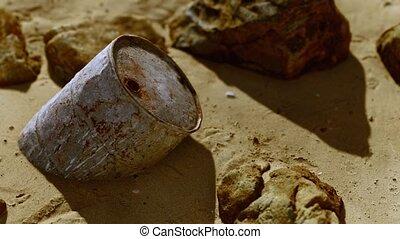 sable, métal, plage, fût huile, rouillé