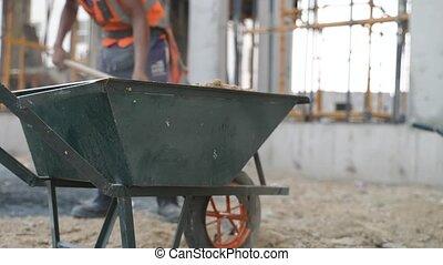 sable, ouvriers, charrette, jeter