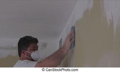 sable, pendant, rénovation, truelle, ponçage, ouvrier, boue, drywall, utilisation, maison