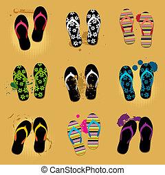 sable, sandales, plage