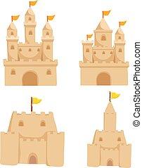 sable, vecteur, conception, château, collection