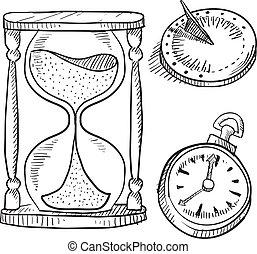 sablier, chronomètre, cadran solaire