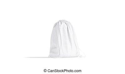 sac à dos, 4k, fait boucle, blanc, cordon, rotation, vidéo, mockup, vide