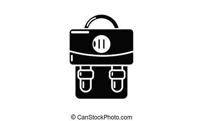 sac à dos, animation, bagage, icône