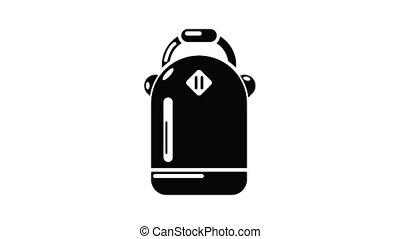 sac à dos, animation, icône, écolière