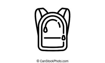 sac à dos, animation, icône, fermeture éclair